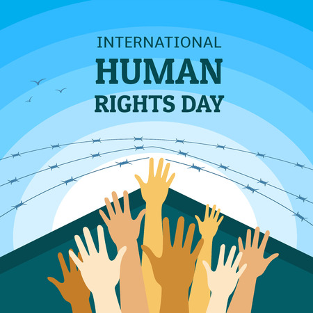 International human rights day concept background. Flat illustration of international human rights day vector concept background for web design Ilustrace