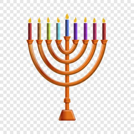 Colorful menorah candle icon. Cartoon of colorful menorah candle vector icon for web design
