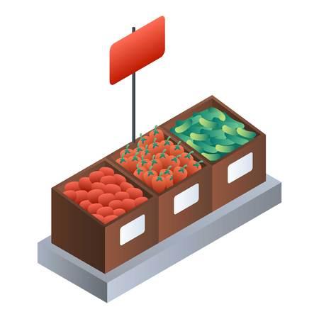 Icône de boîte en bois de légumes de supermarché. Isométrique de boîte en bois de légumes de supermarché pour l'icône vecteur web design isolé sur fond blanc