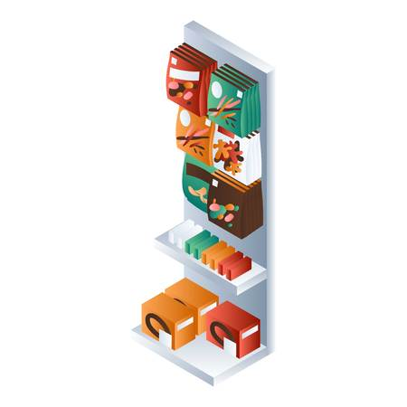 Snack market shelf icon. Isometric of snack market shelf vector icon for web design isolated on white background