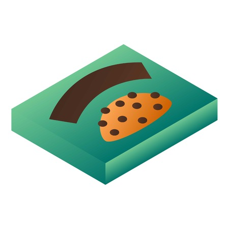 Green biscuit box icon. Isometric of green biscuit box vector icon for web design isolated on white background