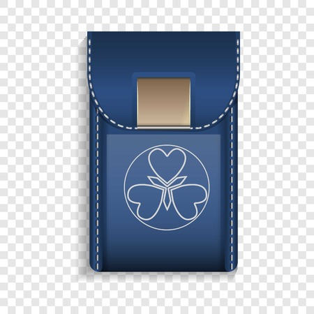 Leather mobile pocket icon. Realistic illustration of leather mobile pocket vector icon for web design Illustration