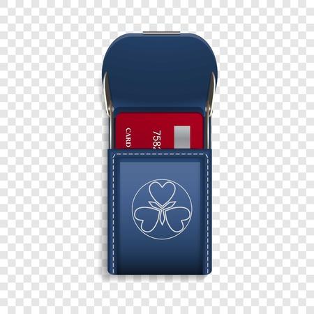 Credit card pocket icon. Realistic illustration of credit card pocket vector icon for web design