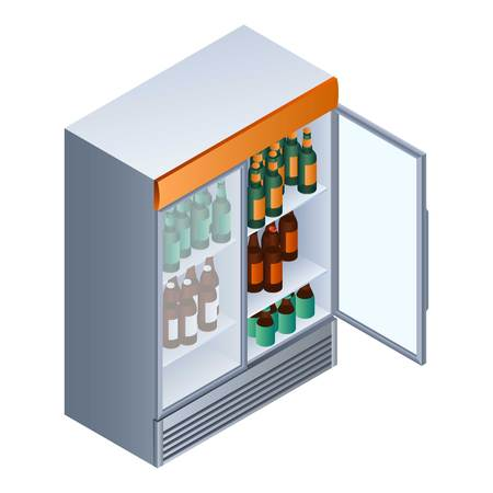 Open drink fridge icon. Isometric of open drink fridge vector icon for web design isolated on white background Иллюстрация