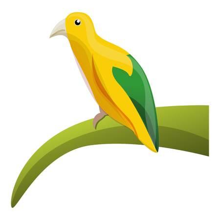Yellow rainforest bird icon. Cartoon of yellow rainforest bird vector icon for web design isolated on white background