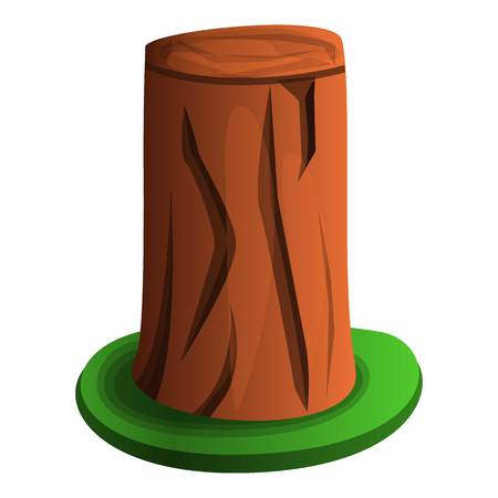 Tree stump with grass icon. Cartoon of tree stump with grass vector icon for web design isolated on white background