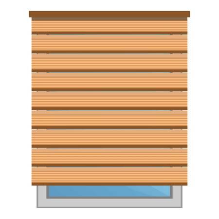 Houten zon blind pictogram. Cartoon van hout zon blind vector pictogram voor webdesign geïsoleerd op een witte achtergrond