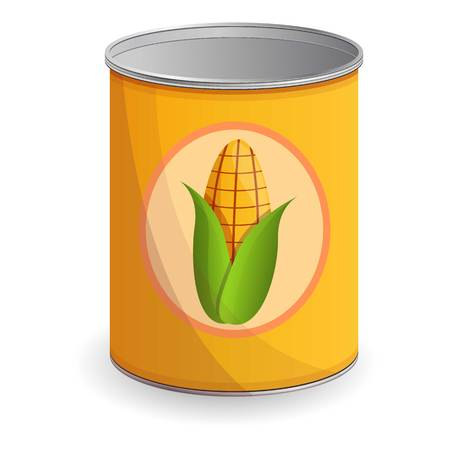 Corn tin can icon. Cartoon of corn tin can vector icon for web design isolated on white background