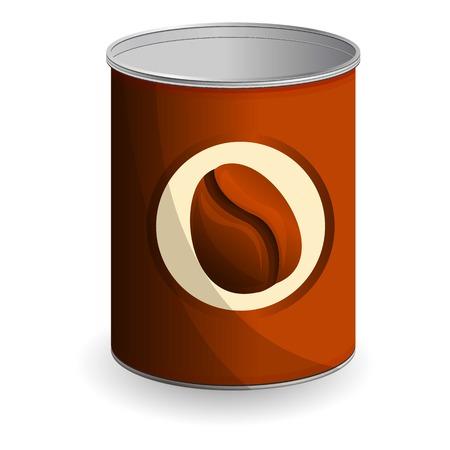 Icône de boîte de conserve de grain de café. Caricature de grain de café peut l'icône vecteur pour la conception web isolé sur fond blanc