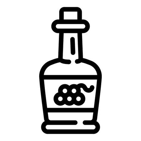 Icono de vinagre de uva. Esquema de vinagre de uva icono vectoriales para diseño web aislado sobre fondo blanco. Ilustración de vector