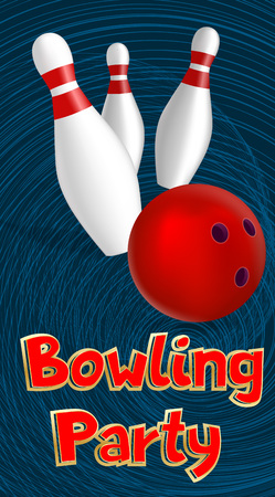 Bowling party banner. Realistic illustration of bowling party vector banner for web design Vettoriali