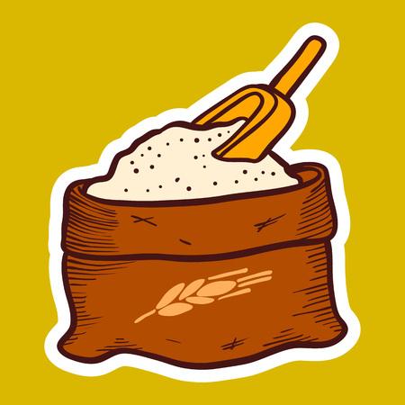 Sack of flour icon. Hand drawn illustration of sack of flour vector icon for web design