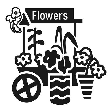 Flower cart icon. Simple illustration of flower cart vector icon for web design isolated on white background 일러스트