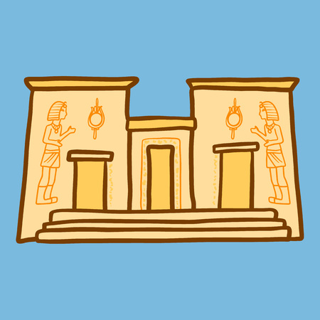 Egypt temple icon. Hand drawn illustration of egypt temple vector icon for web design
