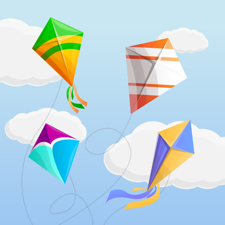 Kite in the sky concept background. Cartoon illustration of kite in the sky vector concept background for web design