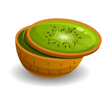 Cutted kiwi icon. Cartoon of cutted kiwi vector icon for web design isolated on white background 向量圖像