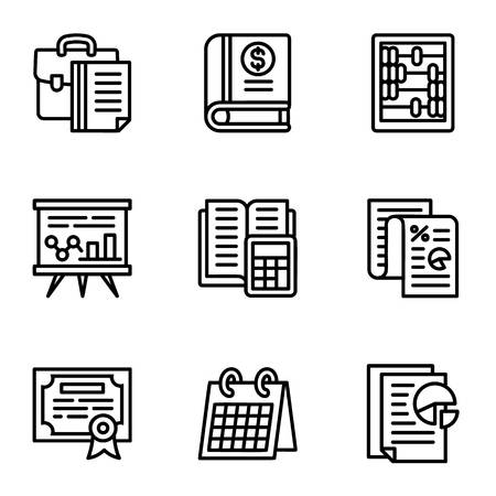 Tax icon set. Outline set of 9 tax icons for web design isolated on white background
