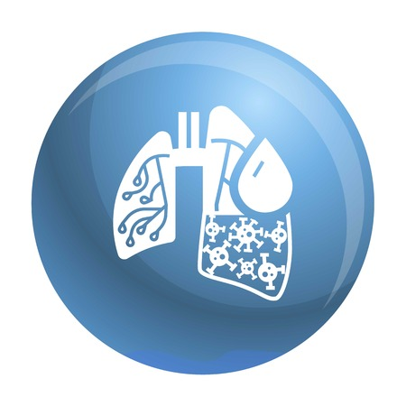 Pneumonia virus lungs icon. Simple illustration of pneumonia virus lungs icon for web design isolated on white background Archivio Fotografico