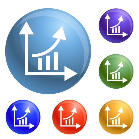Finance graph chart icons set 6 color isolated on white background Stock Photo