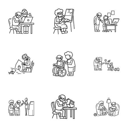 Older person activity icon set. Outline set of 9 older person activity icons for web design isolated on white background Banco de Imagens - 113740855