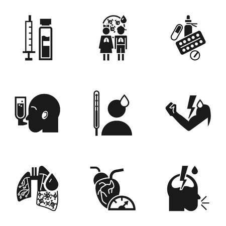 Pneumonia bacteria icon set. Simple set of 9 pneumonia bacteria icons for web design isolated on white background