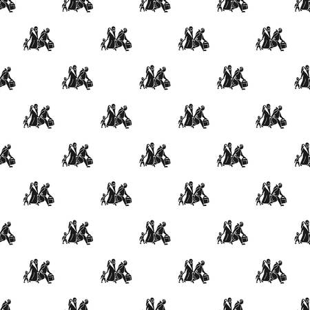 Migrant family leave home pattern seamless vector repeat for any web design