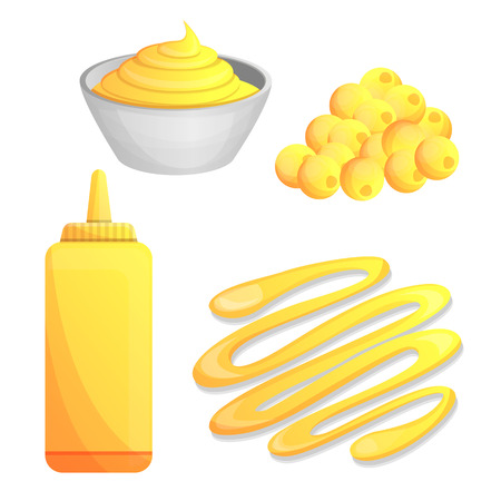 Conjunto de iconos de mostaza. Conjunto de dibujos animados de iconos de vector de mostaza para diseño web