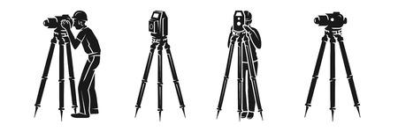 Conjunto de iconos de topógrafo. Conjunto simple de iconos de vector de topógrafo para diseño web sobre fondo blanco