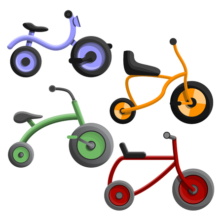 Driewieler pictogramserie. Cartoon set van driewieler vector iconen voor webdesign