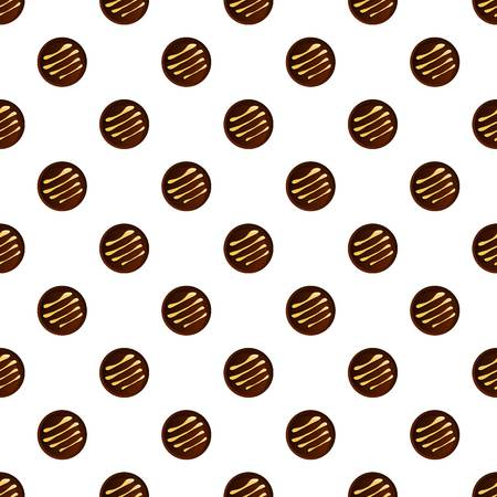 Round chocolate biscuit pattern seamless vector repeat for any web design 일러스트