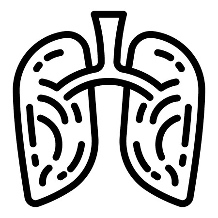Smoking lungs icon. Outline smoking lungs vector icon for web design isolated on white background