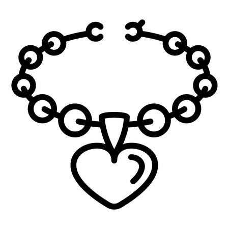 Heart on necklace icon. Outline heart on necklace vector icon for web design isolated on white background Ilustrace