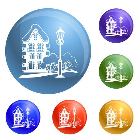 Old house icons set vector 6 color isolated on white background