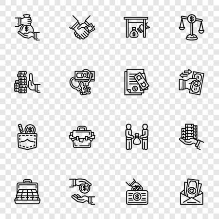 Bestechung-Icon-Set. Umreißen Sie einen Satz von Bestechungsvektorsymbolen für das Webdesign