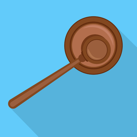 Top view gavel icon. Flat illustration of top view gavel vector icon for web design