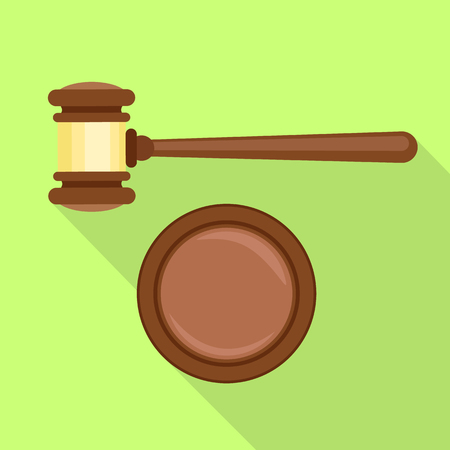 Gavel decision icon. Flat illustration of gavel decision vector icon for web design Stock Illustratie