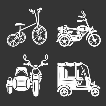 Tricycle icon set. Simple set of tricycle vector icons for web design on gray background
