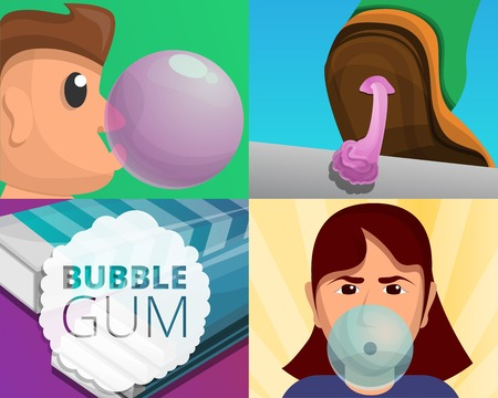 Gum banner set. Cartoon illustration of gum vector banner set for web design