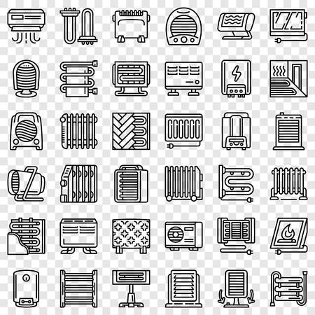 Electric heater icon set. Outline set of electric heater vector icons for web design