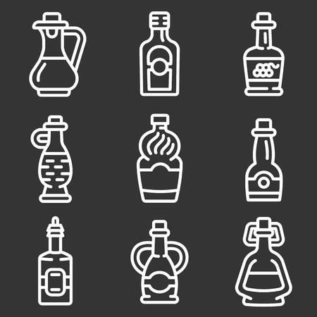 Vinegar icon set. Outline set of vinegar vector icons for web design isolated on gray background Ilustración de vector