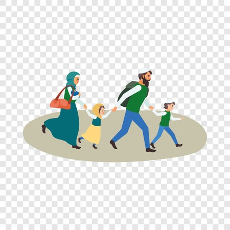 Refugee family icon. Flat illustration of refugee family vector icon for web design