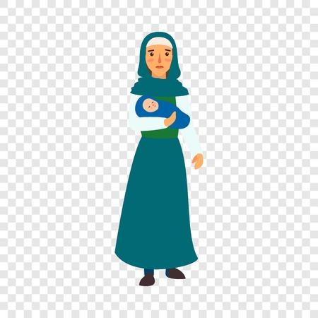 Immigrant mother baby icon. Flat illustration of immigrant mother baby vector icon for web design Ilustración de vector