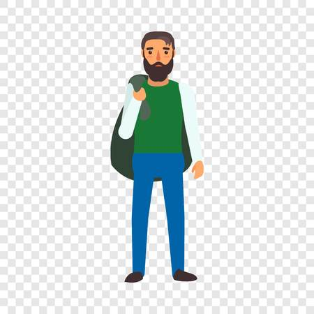 Muslim man refugee icon. Flat illustration of muslim man refugee vector icon for web design