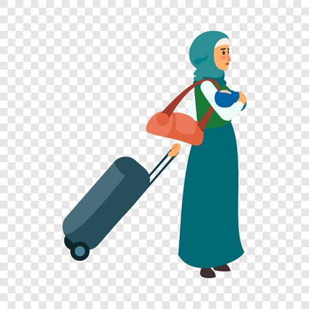 Woman refugee baby icon. Flat illustration of woman refugee baby vector icon for web design