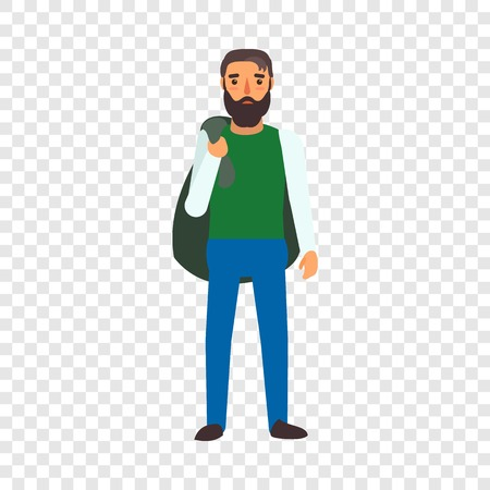 Muslim man refugee icon. Flat illustration of muslim man refugee vector icon for web design
