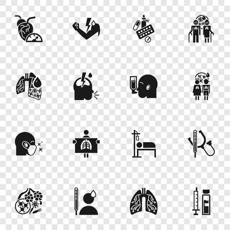 Pneumonia icon set. Simple set of pneumonia vector icons for web design