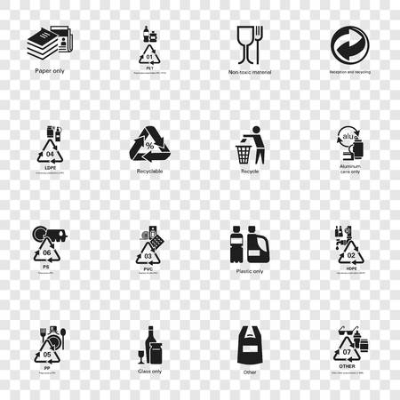 Recycles icon set. Simple set of recycles vector icons for web design Illustration