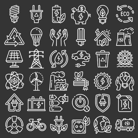 Energy saving icon set. Outline set of energy saving icons for web design isolated on gray background