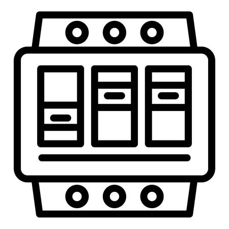 Electric switchboard icon. Outline electric switchboard icon for web design isolated on white background Stok Fotoğraf