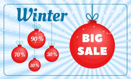 Winter sale banner. Flat illustration of winter sale banner for web design Stock Photo